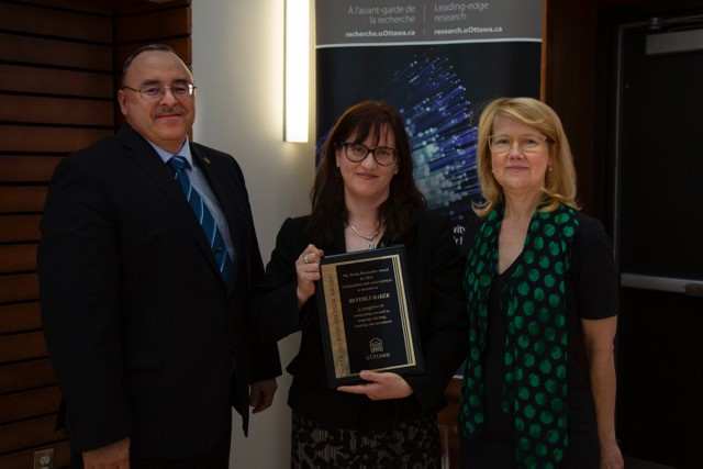 Dr. Beverly Baker Receives Award from the Office of the Vice-President, Research and the Faculty of Arts